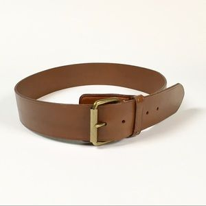 Lauren RL Brown Leather Belt/Brass Buckle/L